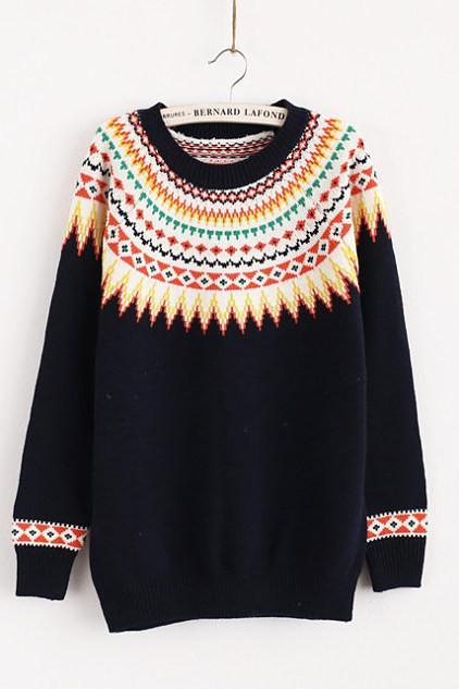 Sunflower sweater Round neck long sleeve knit -3